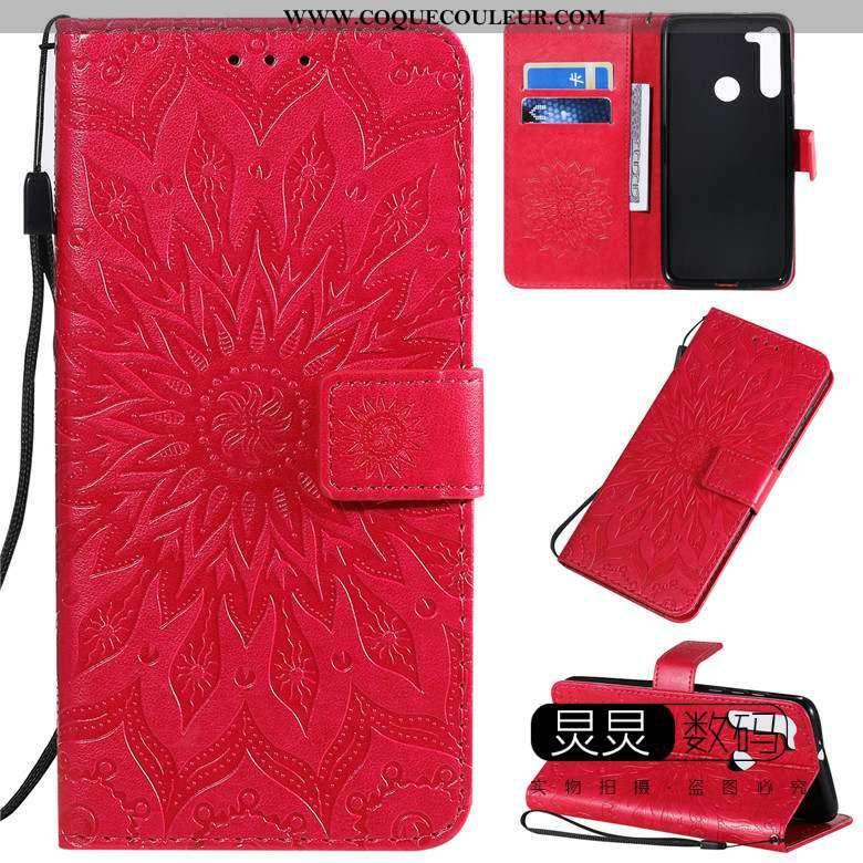 Housse Moto G8 Power Gaufrage Tout Compris Coque, Étui Moto G8 Power Cuir Incassable Rouge