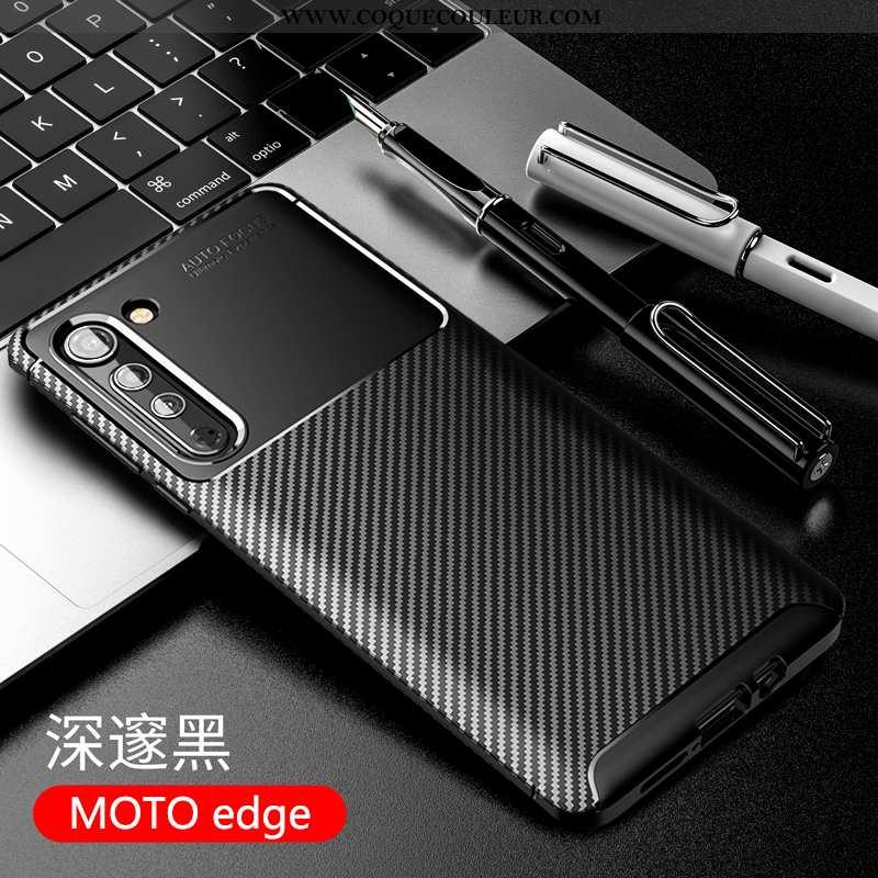 Étui Motorola Edge Protection Coque Business, Motorola Edge Délavé En Daim Silicone Noir