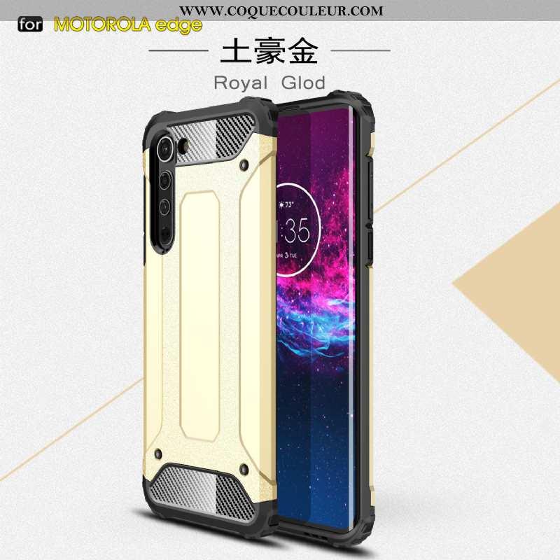 Coque Motorola Edge Étui Difficile Or, Housse Motorola Edge Téléphone Portable Trois Défenses Doré