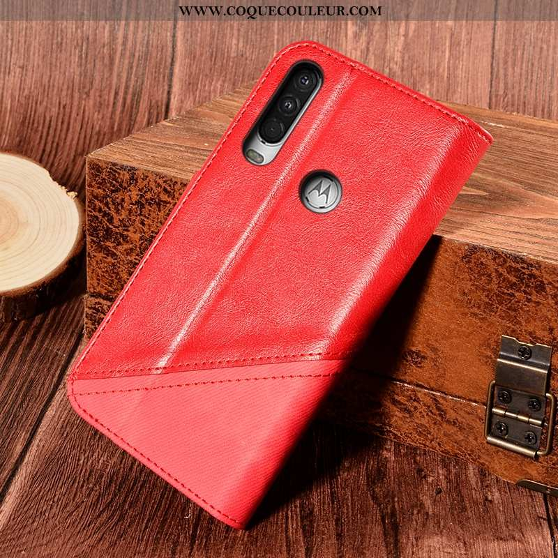 Étui Motorola One Action Protection Support Carte, Coque Motorola One Action Cuir Téléphone Portable