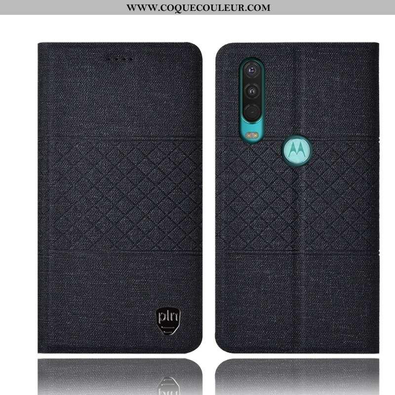 Étui Motorola One Action Protection Coque Lin, Motorola One Action Cuir Tout Compris Noir