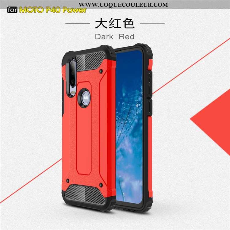 Housse Motorola One Action Tendance Coque Étui, Étui Motorola One Action Protection Rouge
