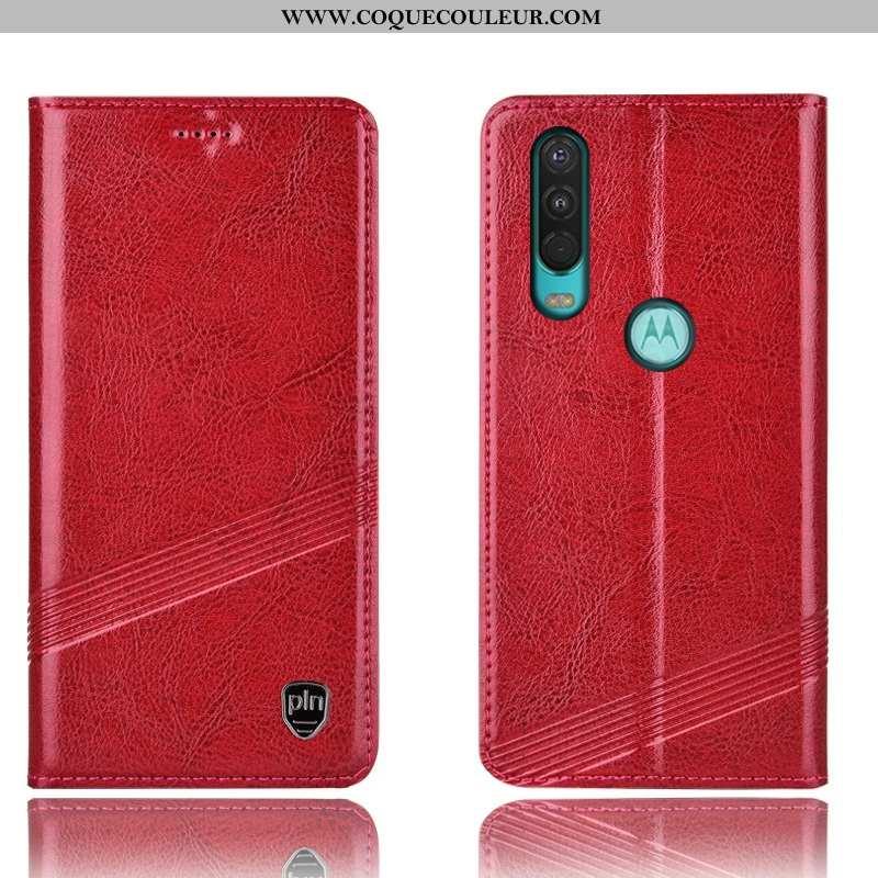 Coque Motorola One Action Cuir Véritable Tout Compris Rouge, Housse Motorola One Action Protection R