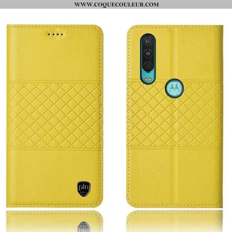 Housse Motorola One Action Cuir Véritable Coque Jaune, Étui Motorola One Action Protection Jaune
