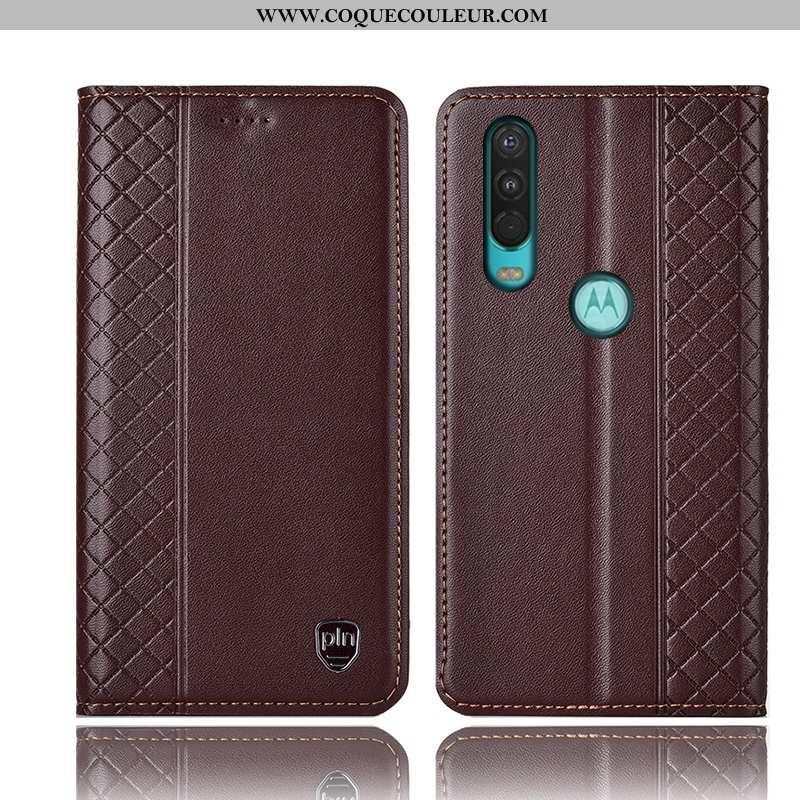 Housse Motorola One Action Cuir Véritable Coque, Étui Motorola One Action Protection Téléphone Porta