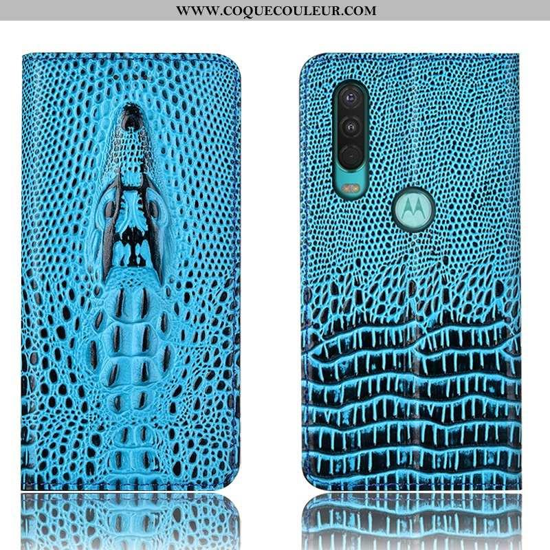 Coque Motorola One Action Protection Tout Compris Bleu, Housse Motorola One Action Cuir 2020 Bleu