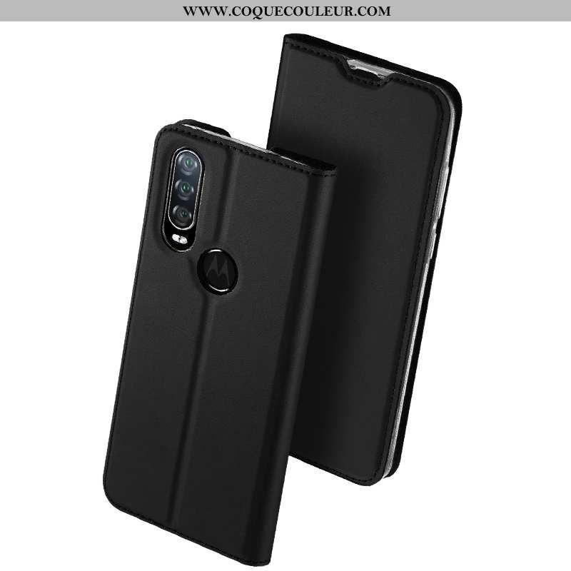 Coque Motorola One Action Protection Noir Business, Housse Motorola One Action Cuir Carte