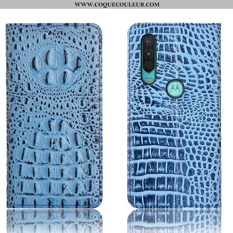 Étui Motorola One Action Cuir Véritable Téléphone Portable Bleu, Coque Motorola One Action Protectio