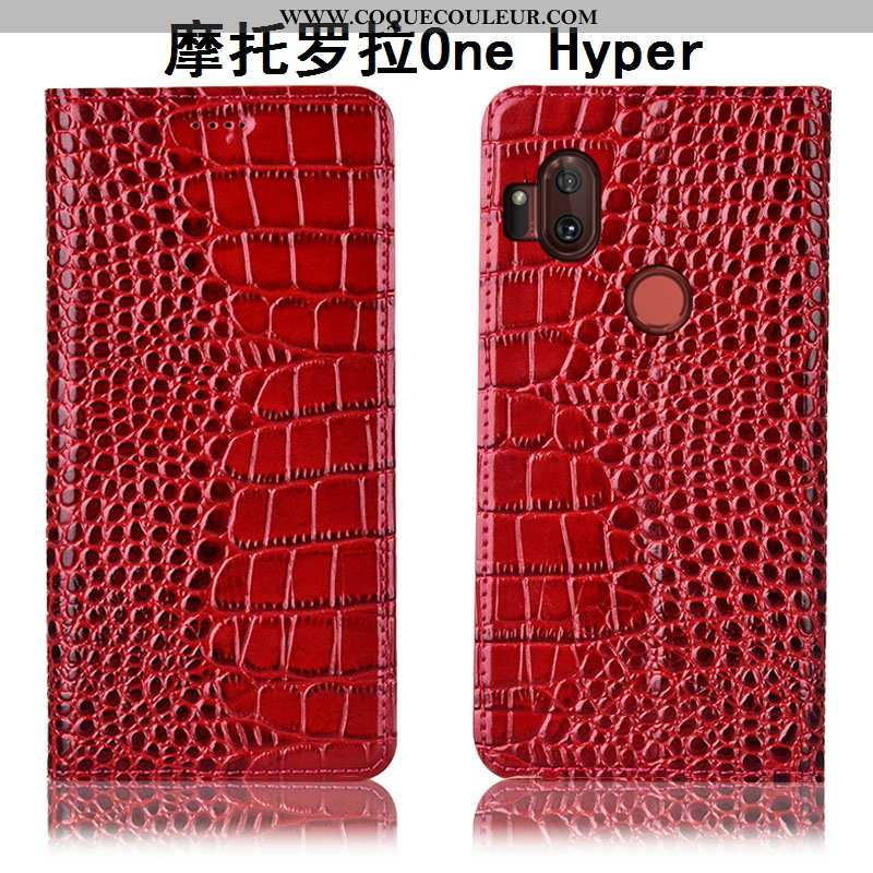 Housse Motorola One Hyper Cuir Véritable Coque Housse, Étui Motorola One Hyper Protection Téléphone