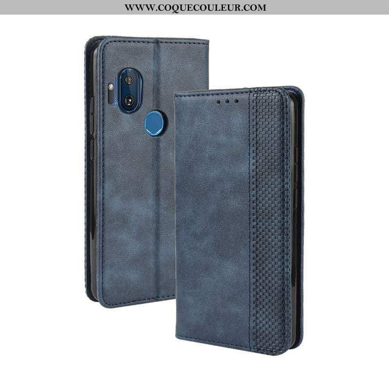 Housse Motorola One Hyper Cuir Téléphone Portable Bleu Marin, Étui Motorola One Hyper Bleu Foncé