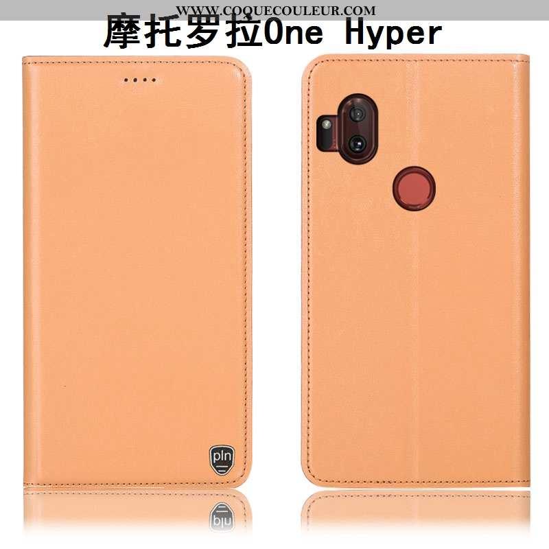 Coque Motorola One Hyper Cuir Véritable Protection Orange, Housse Motorola One Hyper Modèle Fleurie
