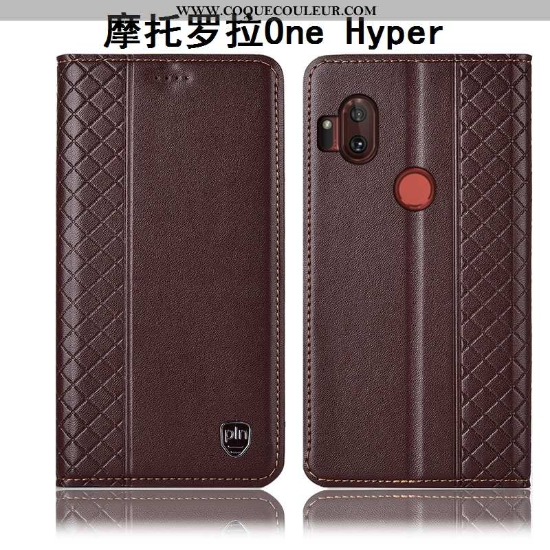 Coque Motorola One Hyper Cuir Véritable Téléphone Portable Étui, Housse Motorola One Hyper Protectio
