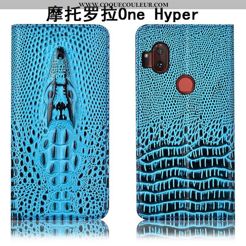 Housse Motorola One Hyper Protection Bleu Housse, Étui Motorola One Hyper Cuir Véritable