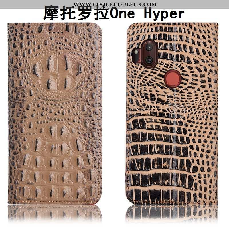 Coque Motorola One Hyper Protection Crocodile Téléphone Portable, Housse Motorola One Hyper Cuir Vér