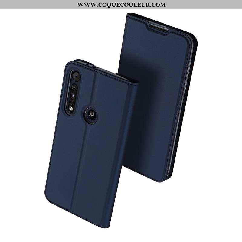 Housse Motorola One Macro Cuir Téléphone Portable Carte, Étui Motorola One Macro Sac Bleu Foncé