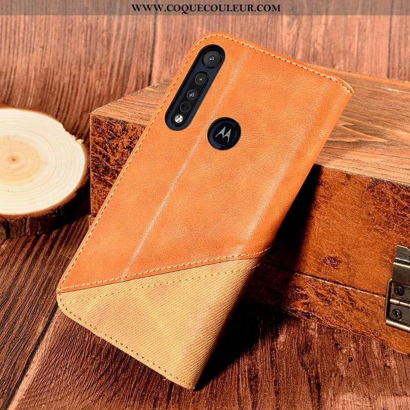 Coque Motorola One Macro Cuir Orange, Housse Motorola One Macro Protection Support Orange