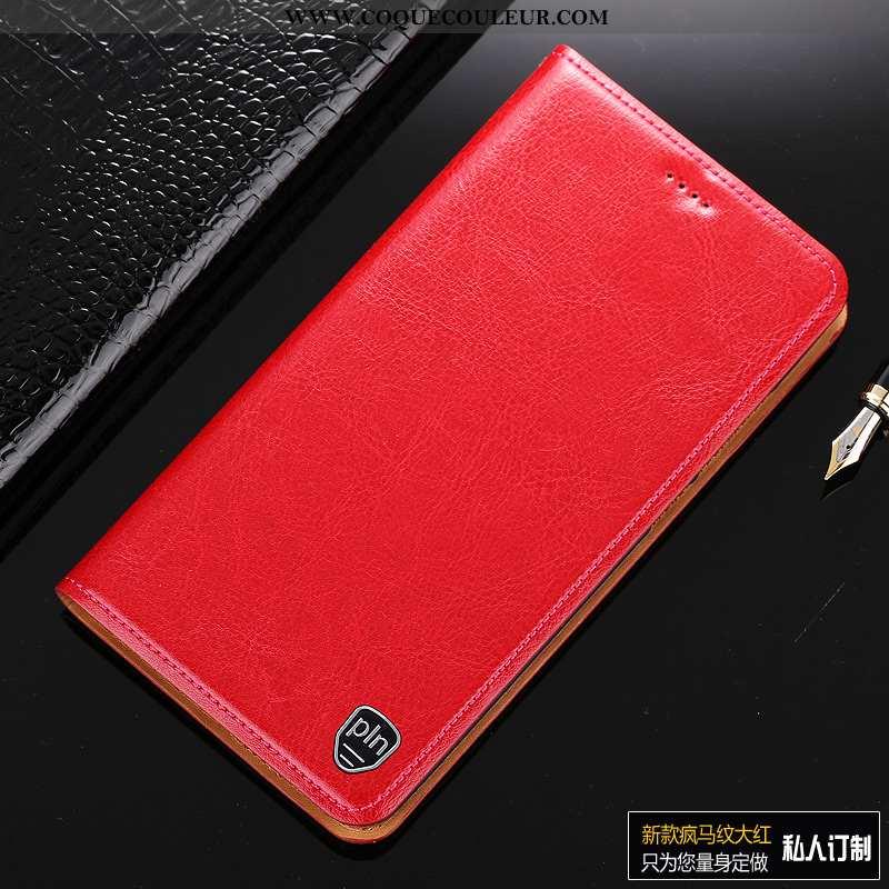 Housse Motorola One Vision Protection Téléphone Portable Rouge, Étui Motorola One Vision Cuir Vérita