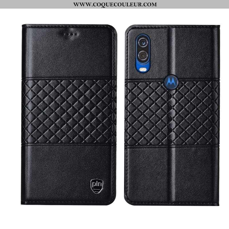 Housse Motorola One Vision Protection Incassable Noir, Étui Motorola One Vision Cuir Véritable Mesh