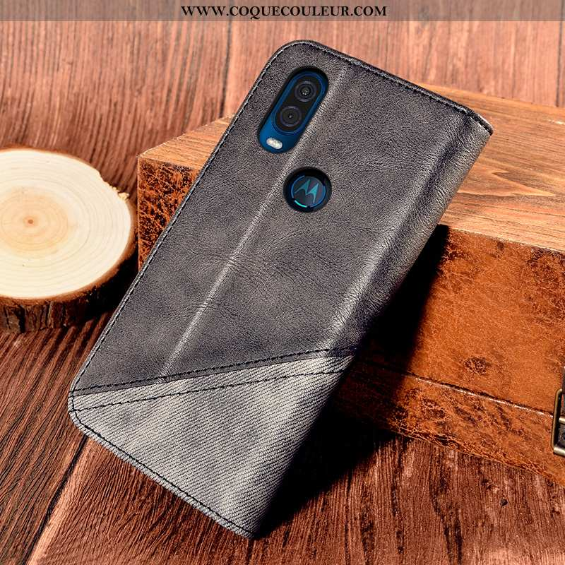 Coque Motorola One Vision Cuir Tout Compris Étui, Housse Motorola One Vision Protection Noir