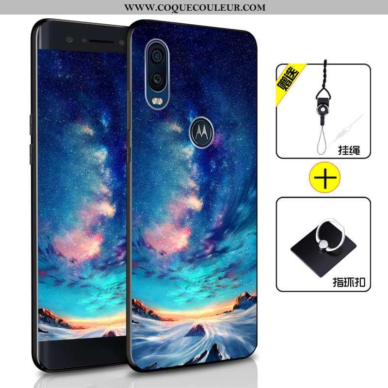 Coque Motorola One Vision Protection Incassable Bleu, Housse Motorola One Vision Fluide Doux Bleu