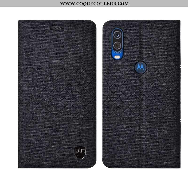 Coque Motorola One Vision Protection Matelassé Incassable, Housse Motorola One Vision Plaid Téléphon