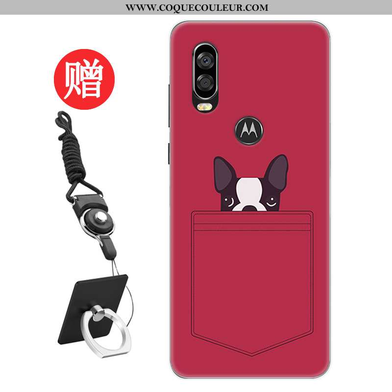 Housse Motorola One Vision Protection Coque Étui, Étui Motorola One Vision Personnalité Rat Rouge