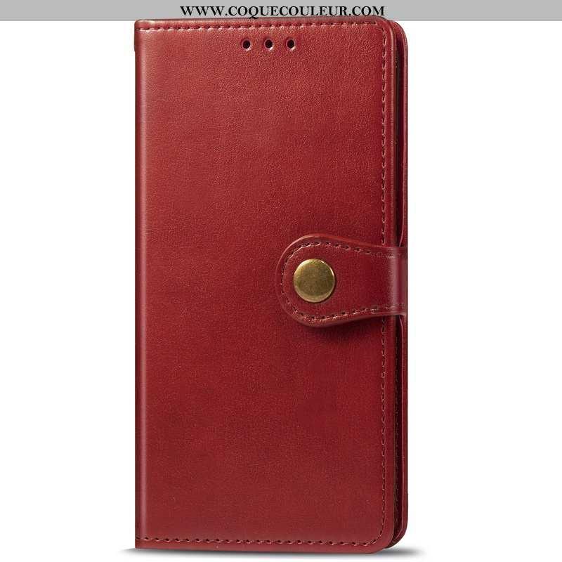 Étui Motorola One Zoom Cuir Rouge Business, Coque Motorola One Zoom Protection Ornements Suspendus