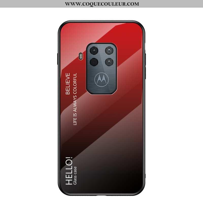 Coque Motorola One Zoom Protection Téléphone Portable, Housse Motorola One Zoom Verre Rouge