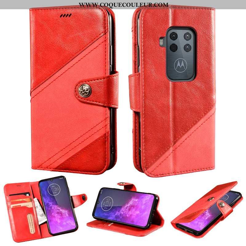 Coque Motorola One Zoom Cuir Incassable Rouge, Housse Motorola One Zoom Protection Rouge