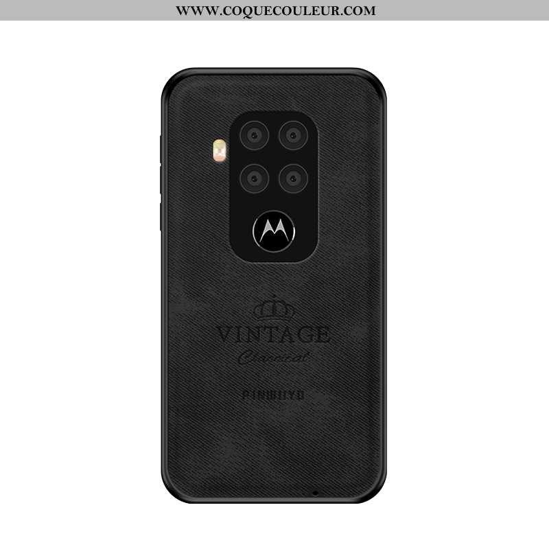 Coque Motorola One Zoom Ultra Noir Luxe, Housse Motorola One Zoom Légère Délavé En Daim