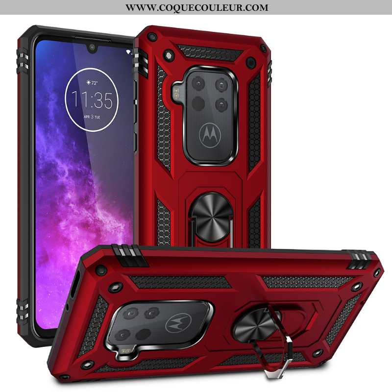 Coque Motorola One Zoom Support Difficile Magnétisme, Housse Motorola One Zoom Rouge