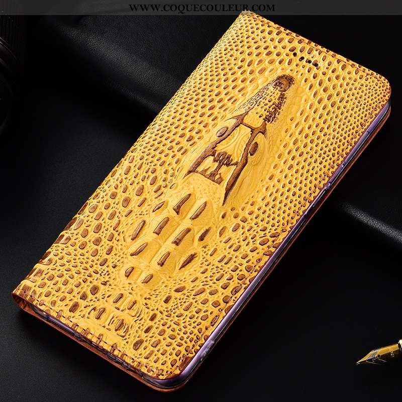 Coque Nokia 1 Plus Protection Crocodile, Housse Nokia 1 Plus Cuir Véritable Étui Jaune