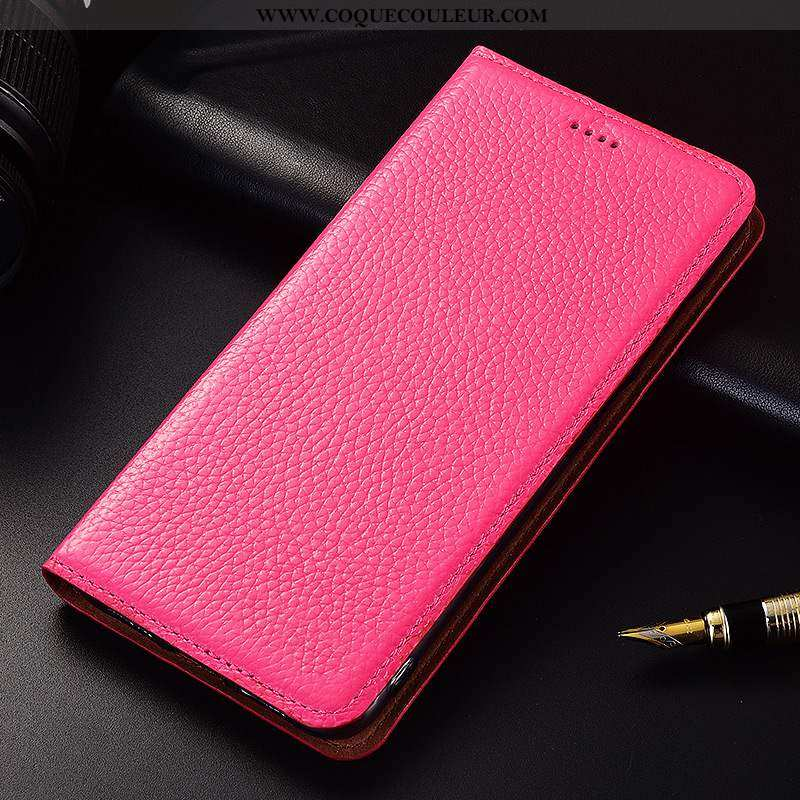 Étui Nokia 2.1 Protection Rouge Téléphone Portable, Coque Nokia 2.1 Cuir Véritable Silicone Rose