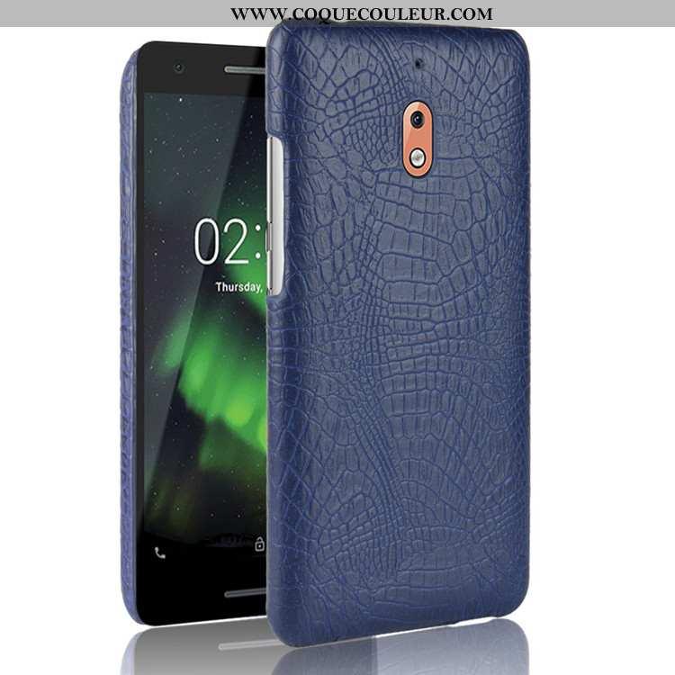 Coque Nokia 2.1 Protection Bleu Marin Étui, Housse Nokia 2.1 Modèle Fleurie Business Bleu Foncé