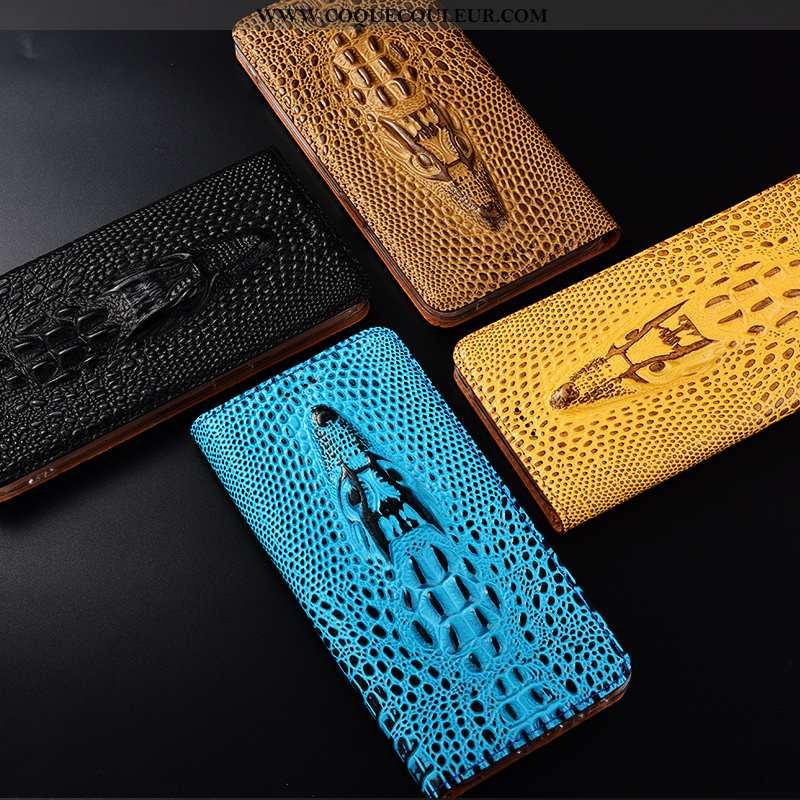 Housse Nokia 2.2 Protection Crocodile Bleu, Étui Nokia 2.2 Cuir Véritable Bleu