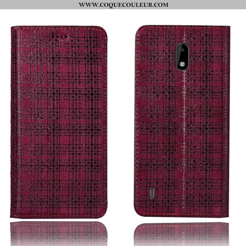 Housse Nokia 2.2 Cuir Véritable Vin Rouge Étui, Étui Nokia 2.2 Protection Coque Bordeaux