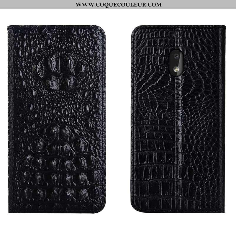 Étui Nokia 2.2 Protection Coque Crocodile, Nokia 2.2 Cuir Véritable Noir