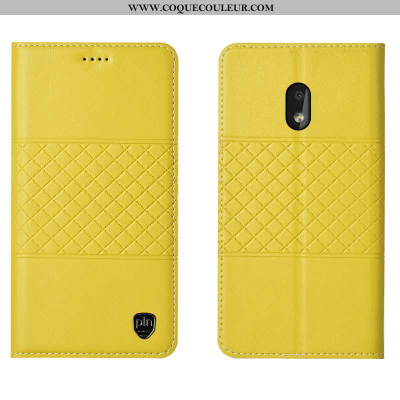 Étui Nokia 2.2 Cuir Véritable Housse Incassable, Coque Nokia 2.2 Protection Jaune