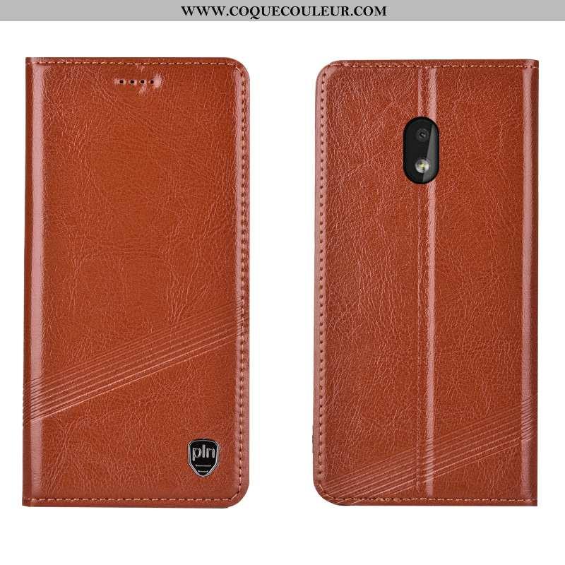 Housse Nokia 2.2 Protection Coque Téléphone Portable, Étui Nokia 2.2 Cuir Véritable Marron