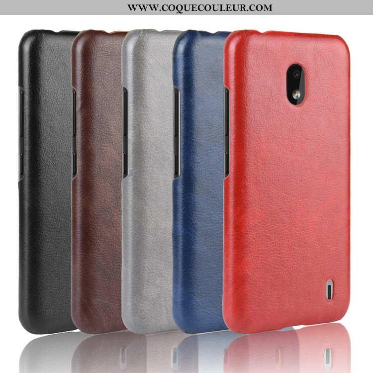 Coque Nokia 2.2 Cuir Protection Litchi, Housse Nokia 2.2 Modèle Fleurie Personnalité Rouge