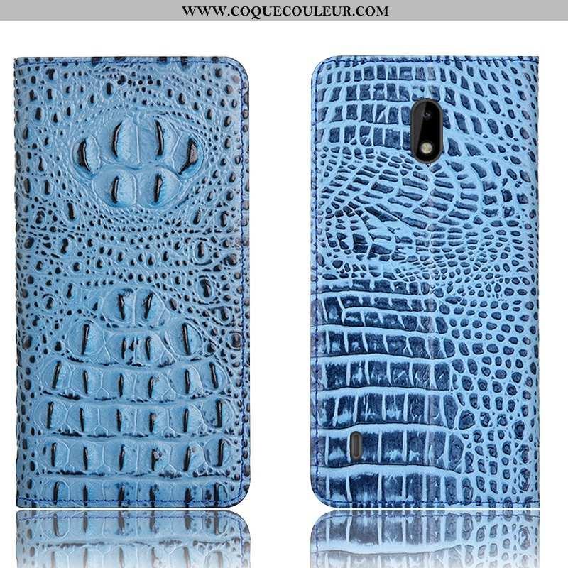 Housse Nokia 2.2 Protection Téléphone Portable Crocodile, Étui Nokia 2.2 Cuir Véritable Bleu