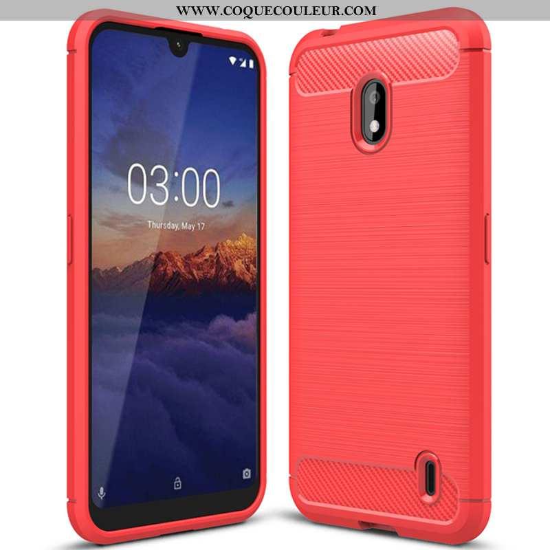 Housse Nokia 2.2 Tendance Simple Fibre, Étui Nokia 2.2 Fluide Doux Téléphone Portable Rouge