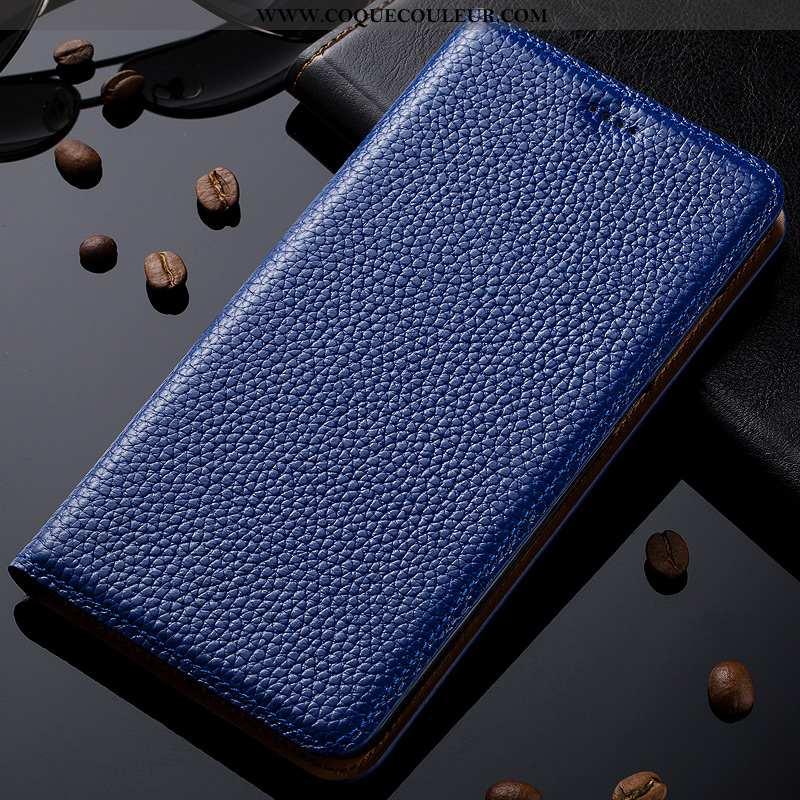 Étui Nokia 2.3 Protection Litchi Incassable, Coque Nokia 2.3 Cuir Véritable Housse Bleu