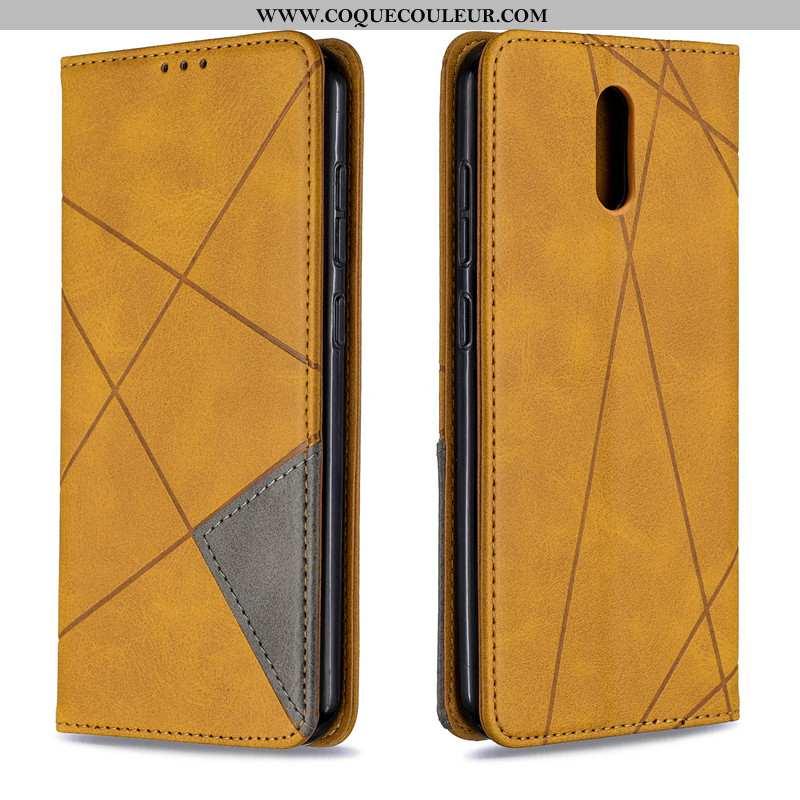 Coque Nokia 2.3 Cuir Housse, Housse Nokia 2.3 Protection Téléphone Portable Jaune