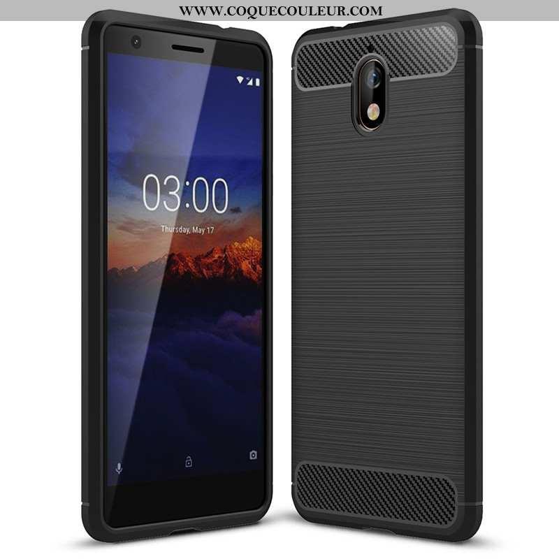 Housse Nokia 3.1 Tendance Coque Silicone, Étui Nokia 3.1 Fluide Doux Protection Noir