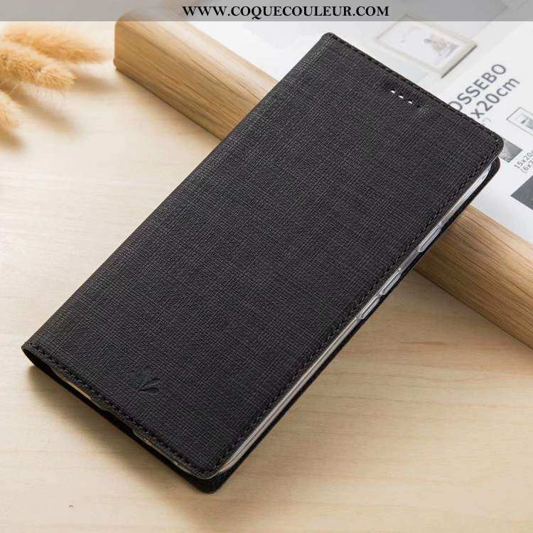 Étui Nokia 3.1 Cuir Coque, Coque Nokia 3.1 Modèle Fleurie Tissu Noir