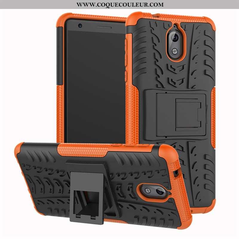 Étui Nokia 3.1 Protection Trois Défenses Support, Coque Nokia 3.1 Silicone Orange