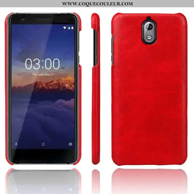 Étui Nokia 3.1 Vintage Protection Incassable, Coque Nokia 3.1 Tendance Téléphone Portable Rouge