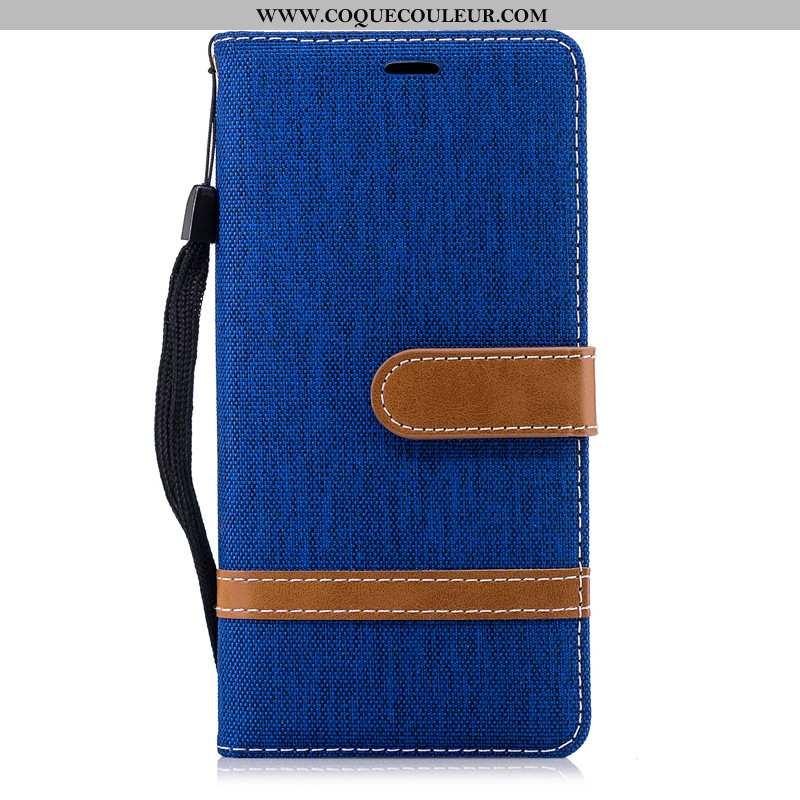 Housse Nokia 3.1 Portefeuille Étui En Denim, Nokia 3.1 Protection Bleu Marin Bleu Foncé