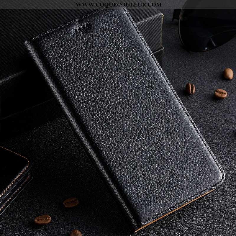 Étui Nokia 3.1 Plus Cuir Véritable Noir, Coque Nokia 3.1 Plus Protection Litchi Noir
